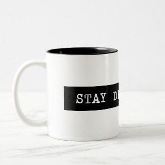 Stay Determined Typewriter Label Two-Tone Coffee Mug