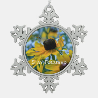 Stay Focused Quote Daisies Mirror Hanger / Pewter Snowflake Decoration