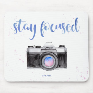 Stay Focused | Watercolor Camera and Typography Mouse Pad
