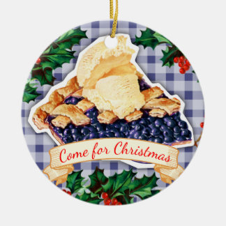 Stay for the blueberry pie Christmas ornament