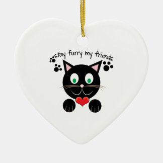 Stay Furry Ceramic Heart Ornament