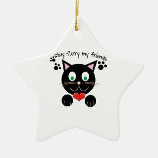 Stay Furry Ceramic Star Ornament