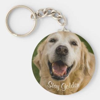 """""""Stay Golden"""" Golden Retriever Keychain"""