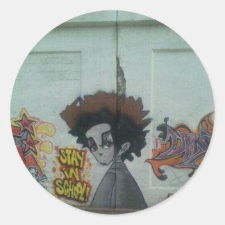 Stay in School Chicago Street Art Classic Round Sticker