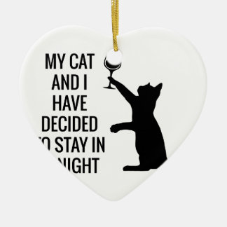 Stay In With Cat Tonight Ceramic Heart Decoration