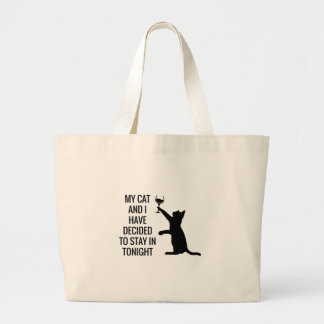 Stay In With Cat Tonight Large Tote Bag