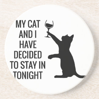 Stay In With Cat Tonight Sandstone Coaster