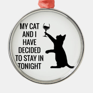 Stay In With Cat Tonight Silver-Colored Round Decoration