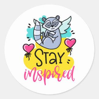Stay Inspired Raccoon Angel Sticker Set