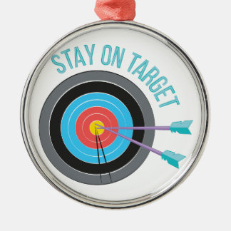 Stay On Target Silver-Colored Round Decoration