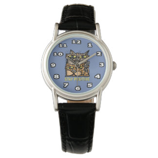 """""""Stay Positive"""" Classic Womens Black Leather Watch"""