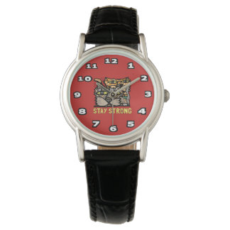 """Stay Strong"" Classic Womens Black Leather Watches"