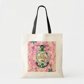 Stay strong nautical anchor art in pink. tote bag