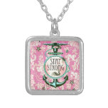 Stay Strong Nautical Art in retro colour palette. Personalised Necklace