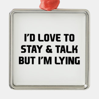 Stay & Talk Silver-Colored Square Decoration