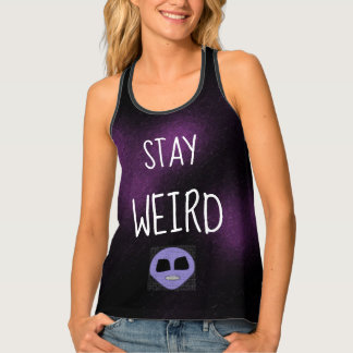 STAY WEIRD Fun Dark Purple Alien Design Goth Singlet