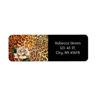 Stay Wild Animal print leopard white rose Return Address Label