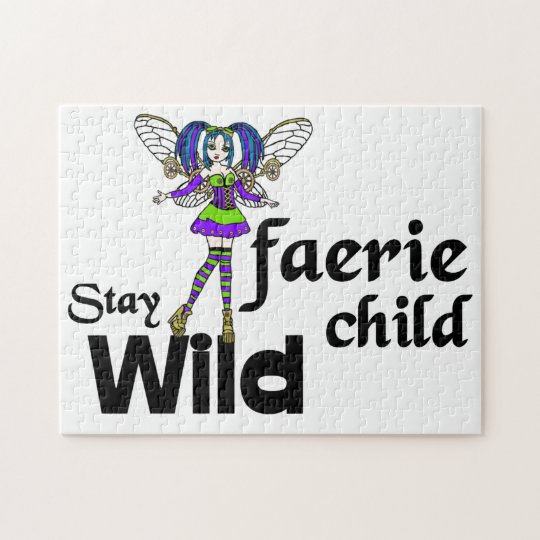 Stay Wild, Fairy Child steampunk Faerie Jigsaw Puzzle