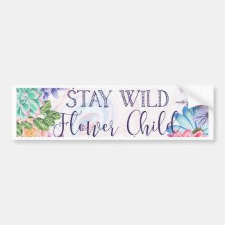 Stay Wild Flower Child - Boho Florals Bumper Sticker
