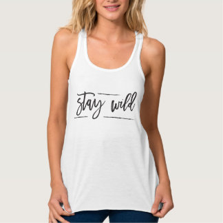 """Stay Wild"" Typography Simple Shirt"