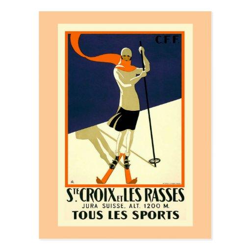 """""""Ste Croix et Les Rasses"""" Swiss Vintage Travel Post Card"""