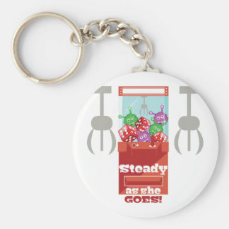 Steady As She Goes Basic Round Button Key Ring