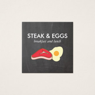 Steak and Eggs Chalkboard Square Business Card