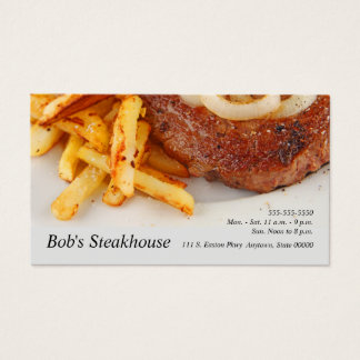 Steak with onions and fries business card