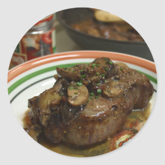 Steak With Shitaki Mushrooms Classic Round Sticker