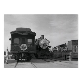 Steam at Owenyo Black and White Photo Poster