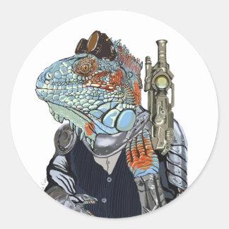 Steam Dragon Sheriff Round Sticker