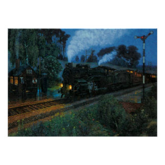 Steam Engine at Night Poster