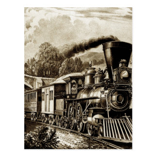 Steam engine locomotive history postcard