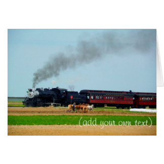 Steam Engine Rolling through Amish Country Greeting Card