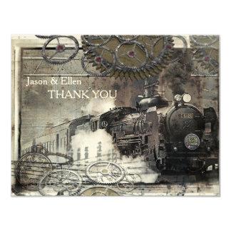 Steam Engine Steampunk Thank You 11 Cm X 14 Cm Invitation Card