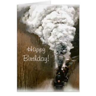 Steam Engine Train Birthday Card