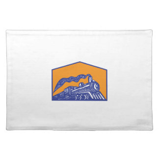 Steam Locomotive Train Coming Crest Retro Placemat