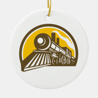 Steam Locomotive Train Icon Ceramic Ornament