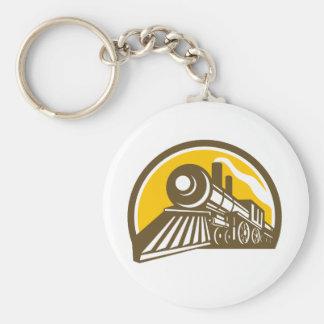 Steam Locomotive Train Icon Key Ring