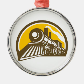 Steam Locomotive Train Icon Metal Ornament