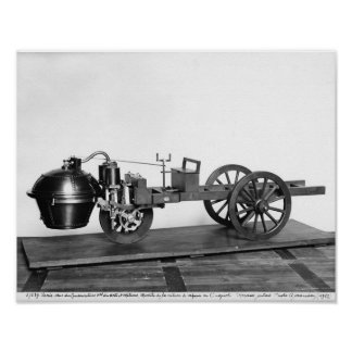 Steam-powered car invented poster