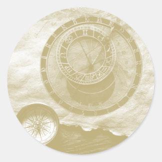 Steam punk compass Art Round Sticker