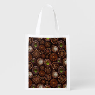 Steam Punk Gears Modern Retro Abstract Pattern Reusable Grocery Bag
