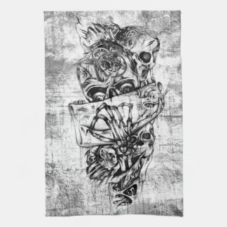 Steam Punk hand illustrated skulls on grunge base Tea Towel
