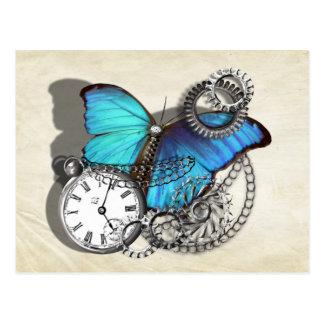 Steam Punk Teal Blue Butterfly Pocket Watch Chains Postcard