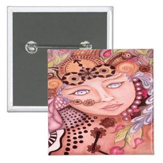 Steam punk woman themed watercolor art 15 cm square badge