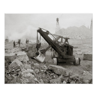 Steam Shovel, 1910. Vintage Photo Poster