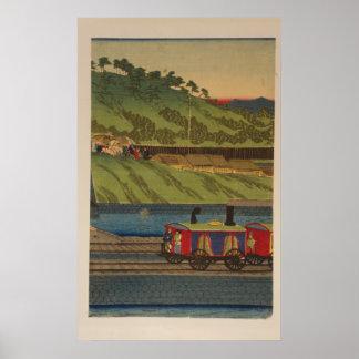 Steam train at Takanawa seashore, Tokyo panel 2 Poster