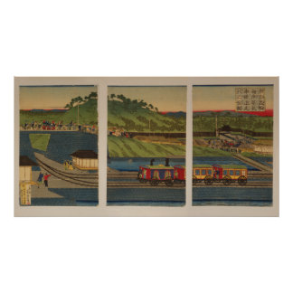 Steam train at Takanawa seashore, Tokyo Poster