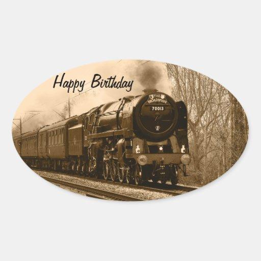 Steam Train Birthday Stickers